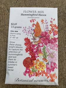 Seed Packet Hummingbird Haven Flower Mix