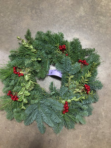 "Wreath Red Berry 14"" - Candle Ring"