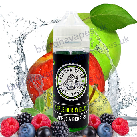 Apple Berry Blast E-Liquid by Buddha Vapes is a sweet taste of a fresh juicy apple combined with a selection of Forest Fruits, Raspberry, Blackcurrant and Blueberry.