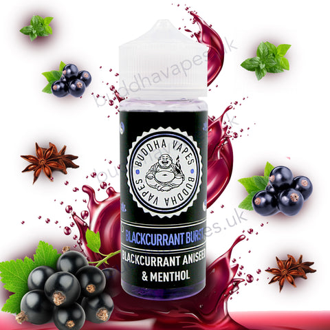 Blackcurrant Burst by Buddha Vapes E Liquid is the refreshing taste of freshly picked blackcurrants followed by a cool menthol blast and an aniseed after taste.