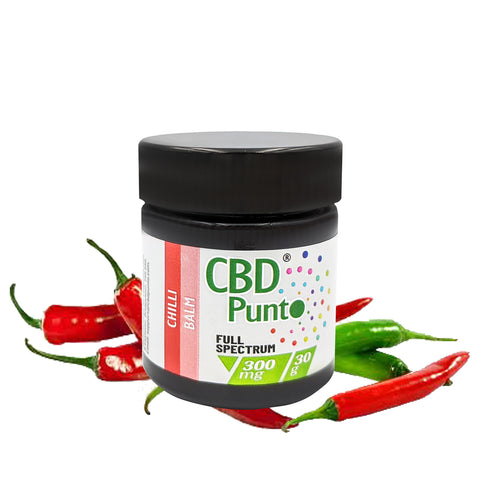 CBD Punto Chilli CBD Balm contains a whole plant extract which includes CBD and other cannabinoids. This CBD oil is non-psychoactive and the content of THC is tested on every batch to meet specification requirements of less than 1mg per bottle.  Our warming Chilli CBD Balm is a fragrant cream that gently nurtures your skin and soothes skin related irritations such as sores and rashes.