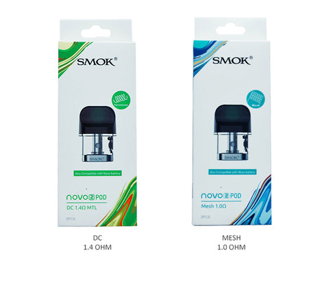 Smok Novo 2 Replacement Pod Cartridges Order this authentic 3 Pack Smok Novo 2 Replacement Pod Cartridges for your Smok Novo 2 Pod Kit. Available in 2 resistances allowing the user to try and choose the best option for their needs.