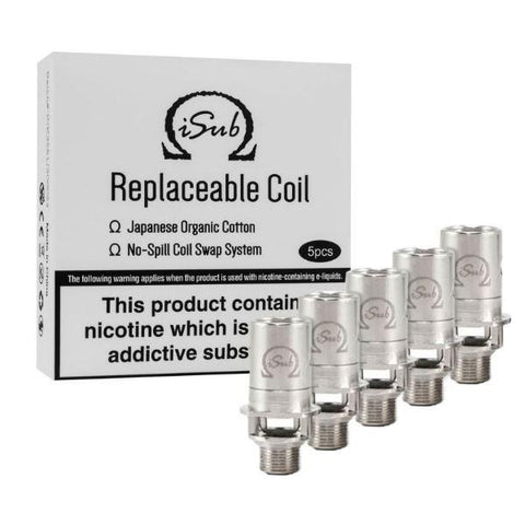The Innokin iSub vape coils are designed to be used with the iSub vape tank series, including the Innokin iSub, isub G, Isub V, Isub VE vape tank and the Innokin iSub G vape tank. The high-quality vape coils feature Innokin's signature 'no spill coil swap system', meaning due to the iSub coil's built-in 510 pin, by simply unscrewing the base of your tank you can pull the coil straight out and replace it.