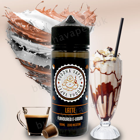 Latte e-Liquid by Buddha Vapes is a creamy chocolate latte with a shot of espresso to go.  Primary Flavours: Cream, Chocolate, Latte, coffee.  VG/PG: 80/20  Size: 100ml + 2x10ml bottles of 18mg Nic Shots included with each bottle you order.  Country: UK  Please Note: This e-liquid is provided in a 120ml bottle with 100ml of e-liquid, allowing you to add 2x10ml of 18mg Nicotine Shots (if required) to make it 3mg.