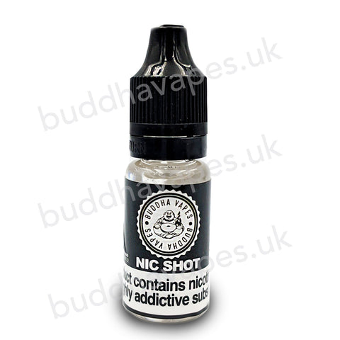 Buddha Vapes 18mg Nicotine Shot     -Nicotine E Liquid Shot 10ml  -Flavourless Nicotine Shot ready to be mixed with concentrates and E liquids to increase the nicotine strength.  -Strength = 18 mg/ml.   -VG/PG = 80VG/20PG  -Size = 10ml  Buddha Vapes 18mg Nicotine Shot £1.50Price  Out of Stock