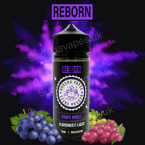 Grape Burst e-liquid by the new Buddha Vapes Series Reborn. A mixed grape drink with an unforgettable cooling exhale.  Primary Flavours: Grape.  VG/PG: 80/20  Size: 100ml + 2x10ml bottles of 18mg Nic Shots included with each bottle you order.  Country: UK  Please Note: This e-liquid is provided in a 120ml bottle with 100ml of e-liquid, allowing you to add 2x10ml of 18mg Nicotine Shots (if required) to make it 3mg.
