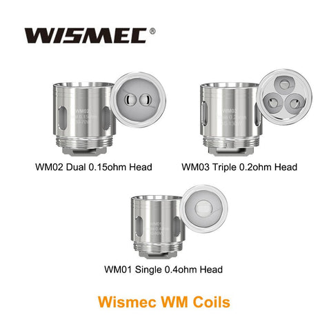 The Wismec WM replacement vape coils are compatible with the Wismec Gnome tank and Gnome Evo tank. There are three versions available that have all been designed for sub ohm vaping. All versions of the WM coil should be used with high VG eliquids, that are 60% VG or higher.