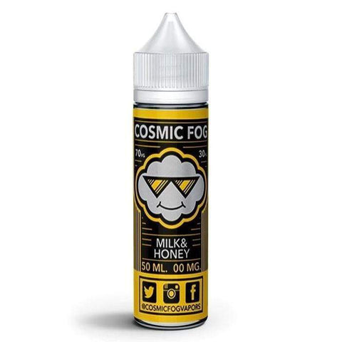Milk & Honey by Cosmic Fog E Liquid - The land of milk and honey might be a legend in real life. When it comes to your e-liquid rotation, though, you can have Milk & Honey by Cosmic Fog whenever you like. This e-liquid reminds us of a big bowl of marshmallows floating in milk and topped with a drizzle of wild-crafted honey.