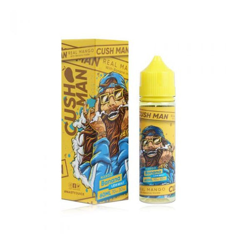 Mango Banana, cush man series by nasty juice VG/PG 70/30 60ML 0MG Short Fill  Mixture of Mango and Banana creates an exclusive taste that will definitely blow your mind! The Taste will still linger even after you blow it!