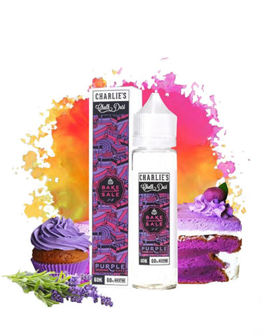 Purple Wedding Cake E-Juice by Bake Sale E-Liquid is a moist triple layered frosted vanilla cake laced with sweet raspberry filling. Manufactured by Charlie's Chalk Dust, Bake Sale Purple Wedding Cake e-liquid delivers a rich and savoury cake on the inhale with subtle notes of raspberry and cream on the exhale. The yummy cake captures each note to perfection and will become a dessert favourite.
