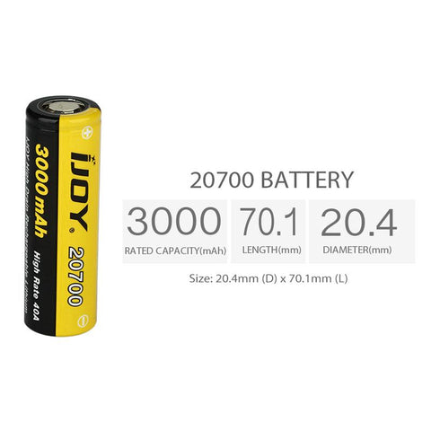 IJOY 20700 40A BATTERY comes with 3000mAh battery capacity with 40A max continuous discharging current. It can be used with most 20700 regular and mechanical MODs. Long storage life, lightweight and high energy density. Get it as a spare part.  Box Includes: 2 x IJOY 20700 3000mAh High Drain Rechargeable Battery – 40A