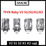 The Smok Mini V2 Coils have been designed for use with the Smok TFV-Mini V2 Tank. Designed for sub ohm vaping there's a variety of versions of this Smok replacement coil. Due to the sub ohm resistances, we recommend using high VG eliquids of 60% and above for best performance.