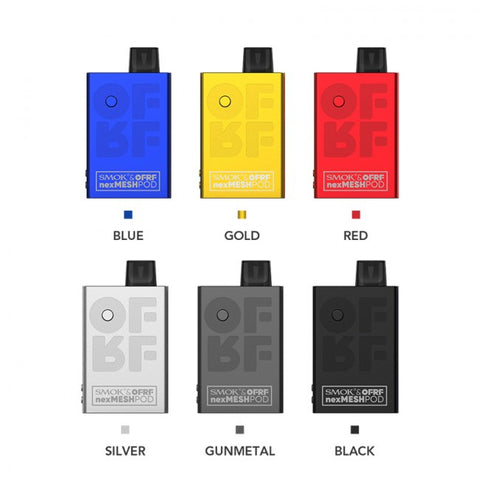 SMOK and OFRF collaborated to bring forth the NexM Pod kit, a compact all-in-one pod mod that offers maximum power up to  30 Watts. It has a small size and a large battery capacity of 1200mAh. The kit uses a unique aluminum alloy shell that is  lightweight and durable. The NexM cartridge is equipped with two NexM coils, designed to deliver fuller and richer flavor.  In addition, it features a waterproof cartridge base which can prevent condensate from entering the interior.