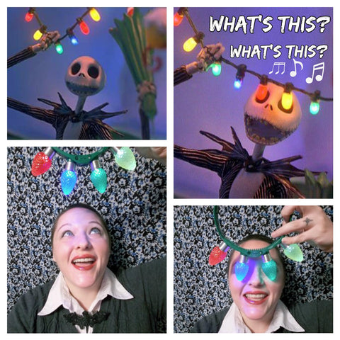 rebekah dressed up with a bat bow tie to emulate jack skellington from the nightmare before christmas