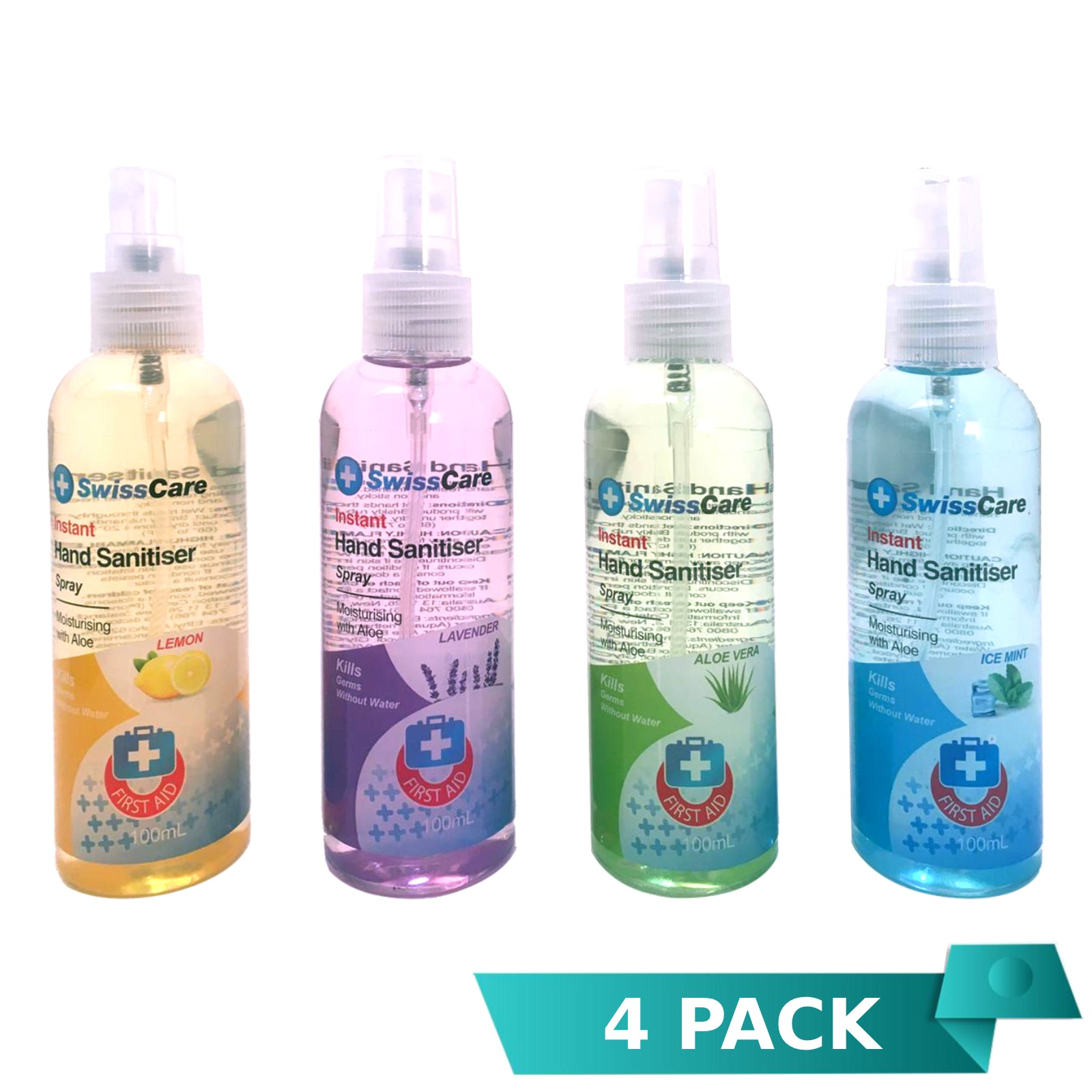 4 x SwissCare Hand Sanitiser Spray Assorted 100mL