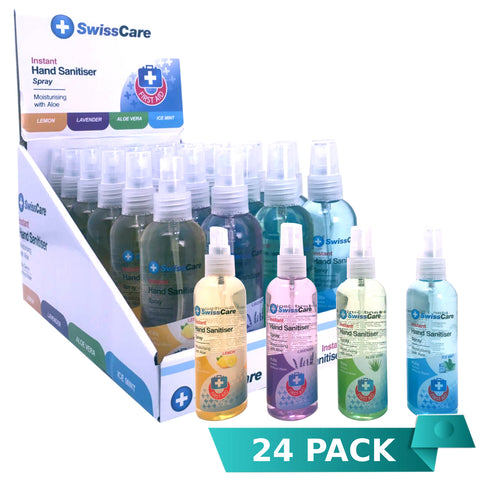 24 x SwissCare Hand Sanitiser Spray Assorted 100mL