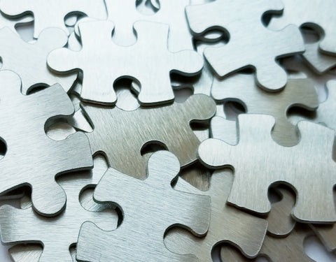 Aluminum Puzzle Pieces, 4-sided Stamping Blanks