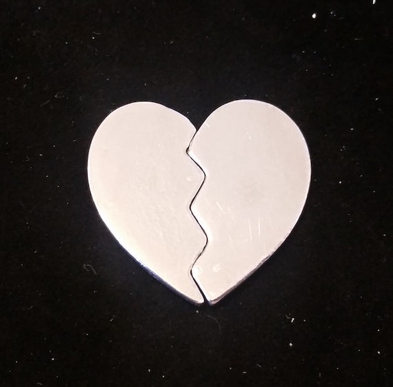 Hand Casted Pewter Broken Heart - 1 1/4