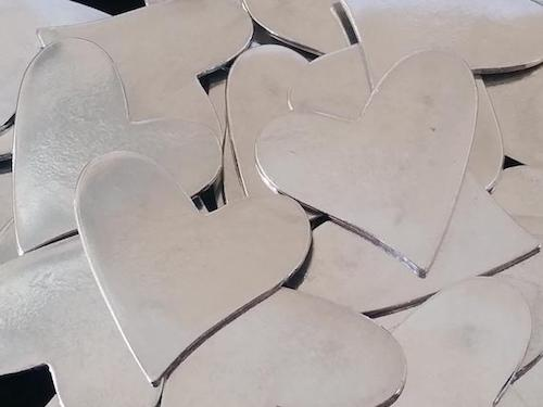 Pewter Stamping Blanks - Hearts - Qty 3