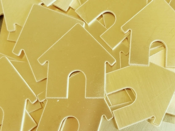 Brass Dog House Stamping Blanks - 1 1/4