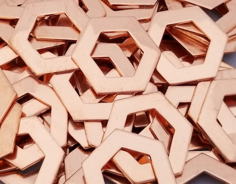 Copper Hexagon Washer Stamping Blanks