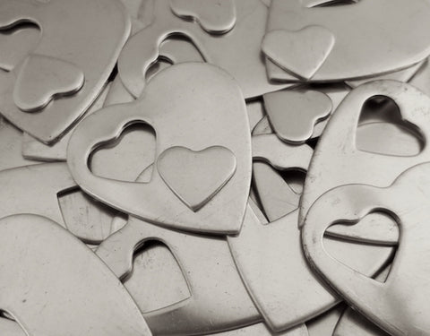 Nickel Silver Heart Pendant Stamping Blanks