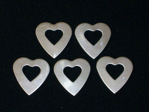 Nickel Silver Heart Washers Stamping Blanks