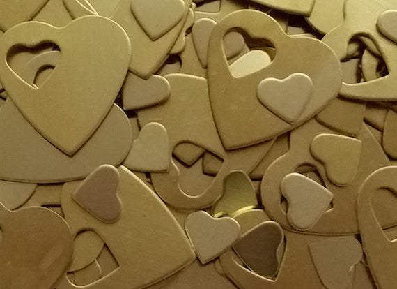 Brass Heart Pendant Stamping Blanks