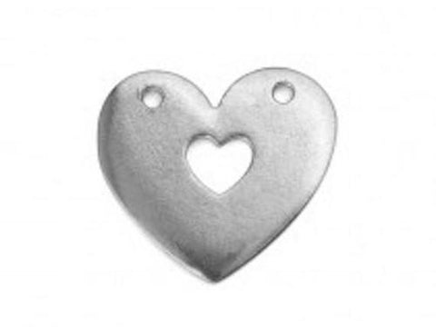 Pewter Cast Heart w/ Heart Cut Out Stamping Blanks, IA