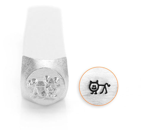 Cat Stick Figure Design Stamp, 6MM