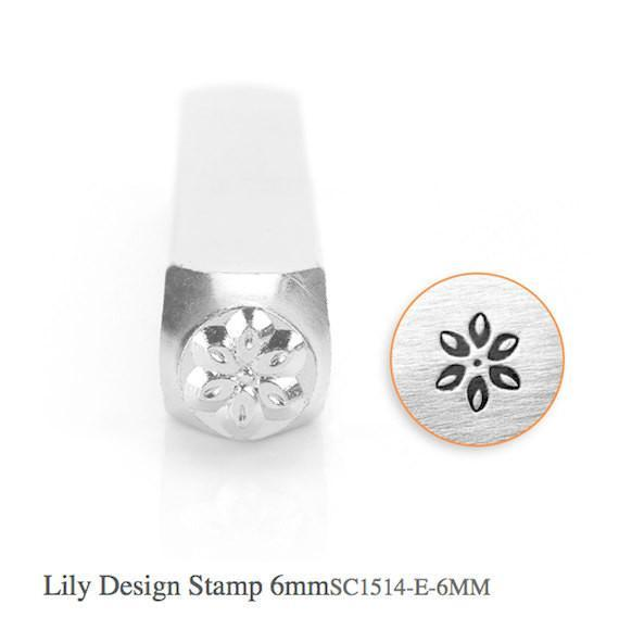Lily Design Stamp, Metal Stamp, 6mm, SC1514-E-6MM