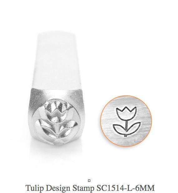 Tulip Design Stamp, Metal Stamp, SC1514-L-6MM