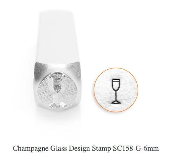 Champagne Glass Design Stamp, SC158-G-6MM