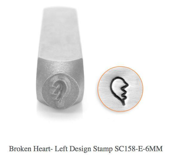 Broken Heart-Left Design Stamp, SC158-E-6MM,