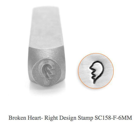 Broken Heart-Right Design Stamp, 6MM