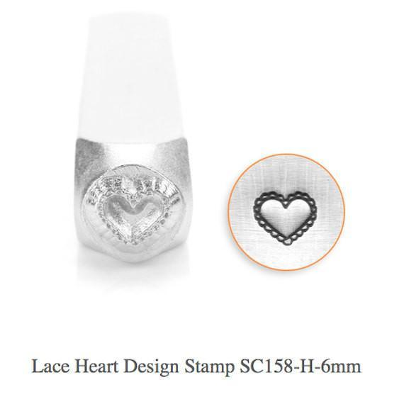 Lace Heart Design Stamp, SC158-H-6MM