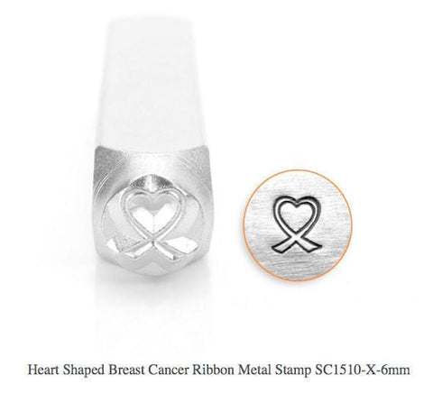 Heart Shaped Breast Cancer Ribbon Design Stamp, 6MM