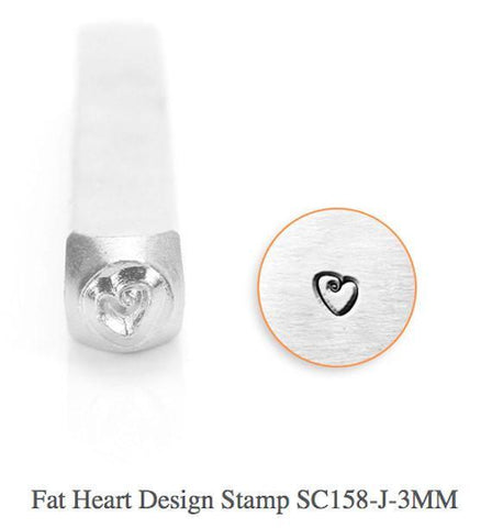 Fat Heart Design Stamp, 3MM