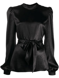 Black Satin Blouse