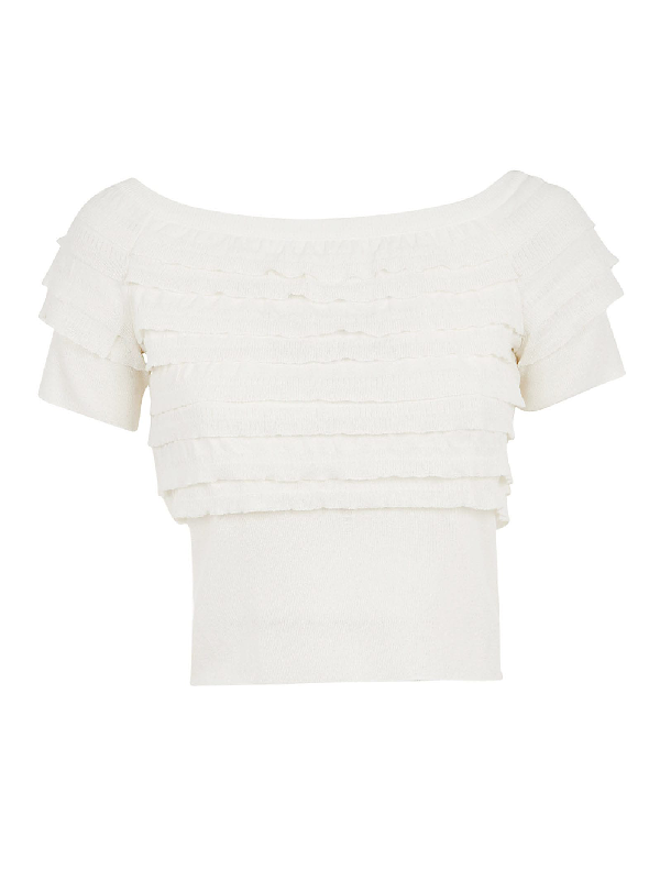 Multi-ruffled Boat Neck Cropped Top