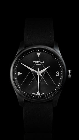 From Trikona London's Signature Collection, comes the Endurance model, which is a stunning man's watch in black PVD, with a black sunray effect dial. A 40mm stainless steel watch with a Swiss Made Ronda 715 Quartz movement. A stylish watch for men with luxury Alcantara straps, suitable for all occasions.