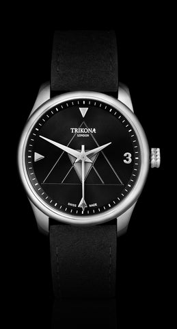 From Trikona London's Signature Collection, comes the Resolve model, which is a stunning man's watch in stainless steel, with a black sunray effect dial. A 40mm stainless steel watch with a Swiss Made Ronda 715 Quartz movement. A stylish watch for men with luxury Alcantara straps, suitable for all occasions.