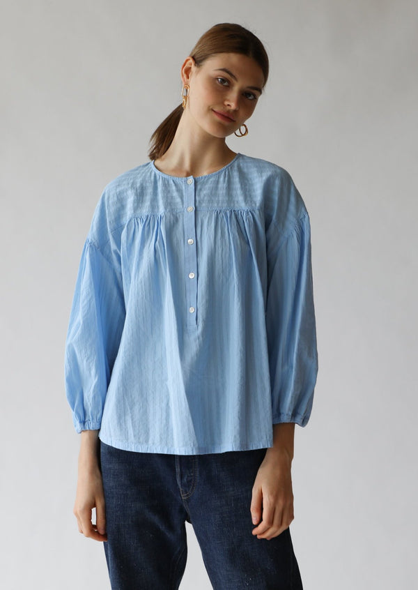 Raquel Allegra Poet Top in Baby Blue