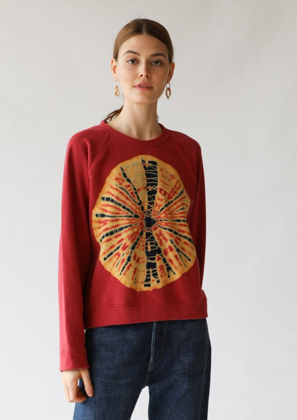 Raquel Allegra Raglan Sweatshirt in Red Tie Dye