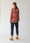 Raquel Allegra Victorian Ruffle Blouse in Red Floral Silk