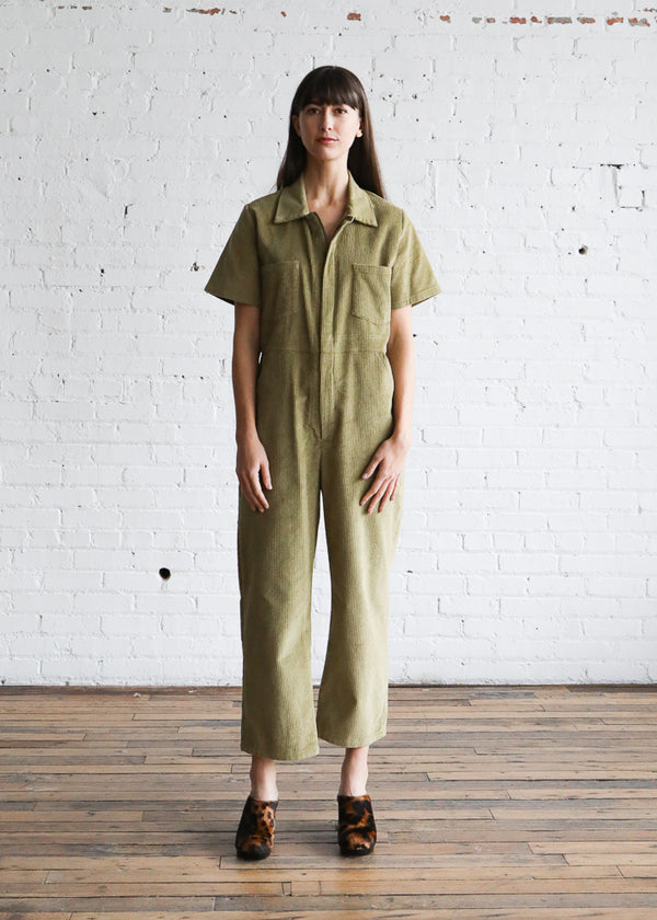 Freya Coverall in Lime Corduroy
