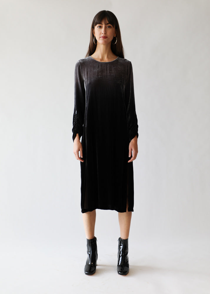 Jane Dress in Velvet/Grey Ombre