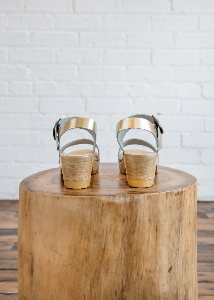 No. 6 Two Strap Clog Mid Heel Gold