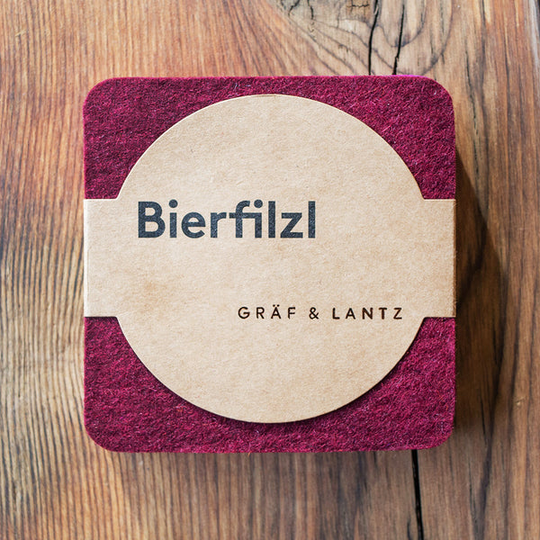 Graf & Lantz Felt Coaster 4 pack Bordeaux