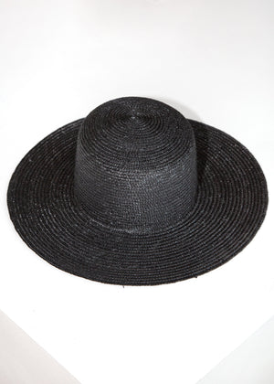 Medium Brim Flat Top Hat wShade in Black - SOLD OUT